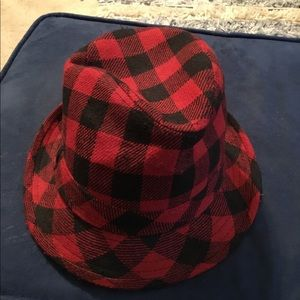 Other - Buffalo Check Red and Black Fedora
